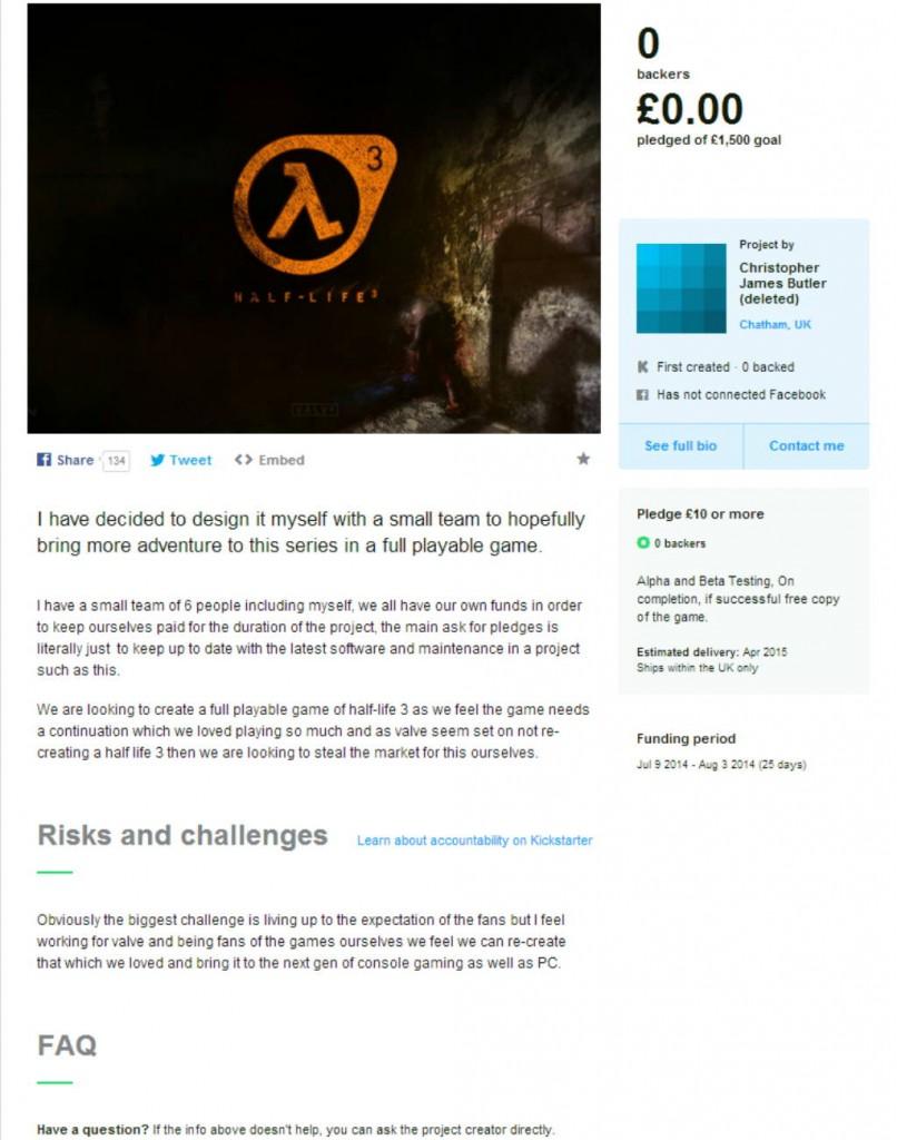 Half Life 3 apare pe Kickstarter