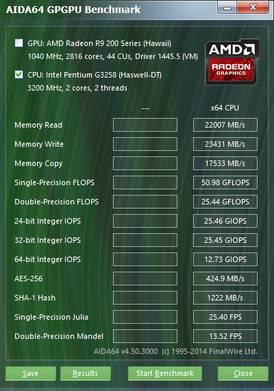 Intel Pentium G3258 Aida64 GPGPU 3.2GHz