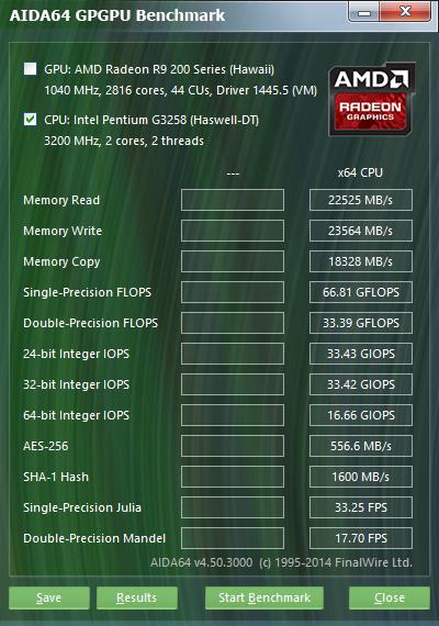 Intel Pentium G3258 Aida64 GPGPU 4.2GHz