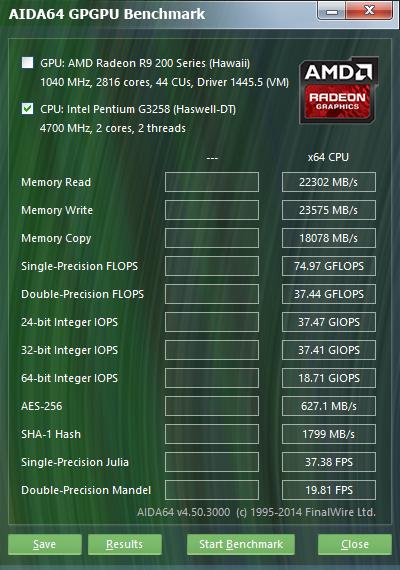 Intel Pentium G3258 Aida64 GPGPU 4.7GHz
