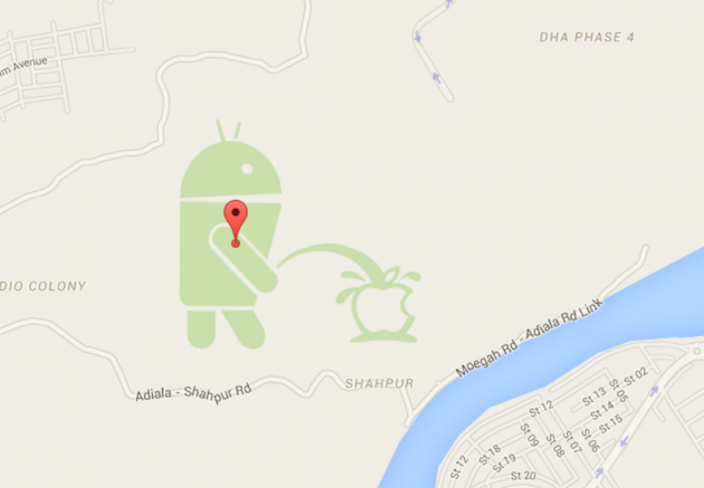 Android urinand pe un logo Apple