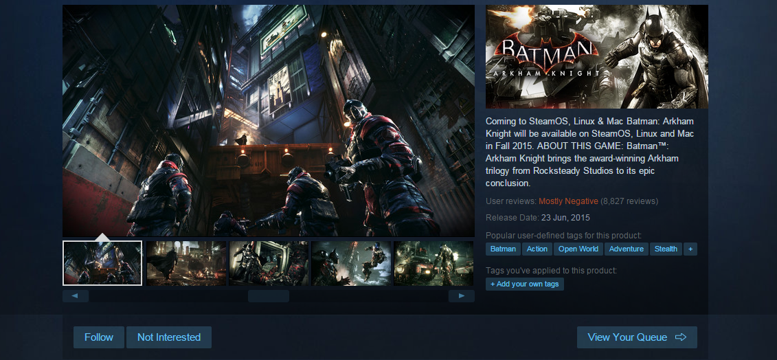 Photo of Batman: Arkham Knight pentru PC ar putea fi relansat pe Steam in August!