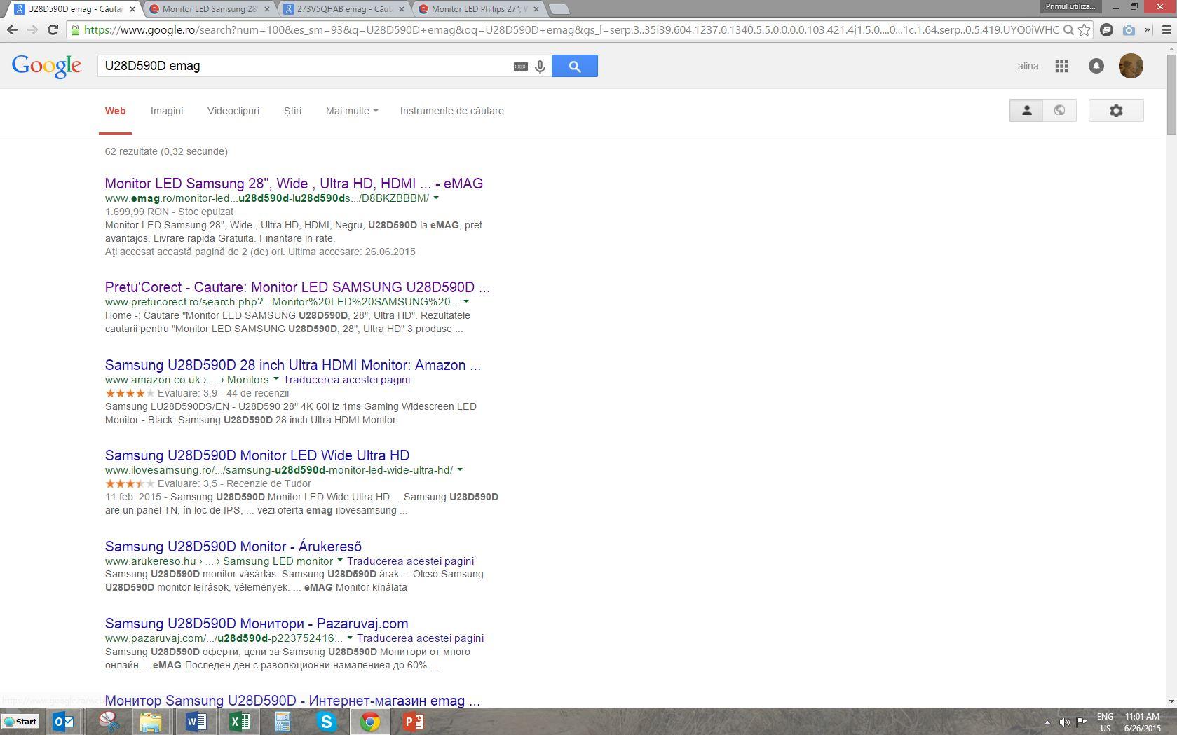 Cautare Google - monitor Samsung U28D590D eMAG