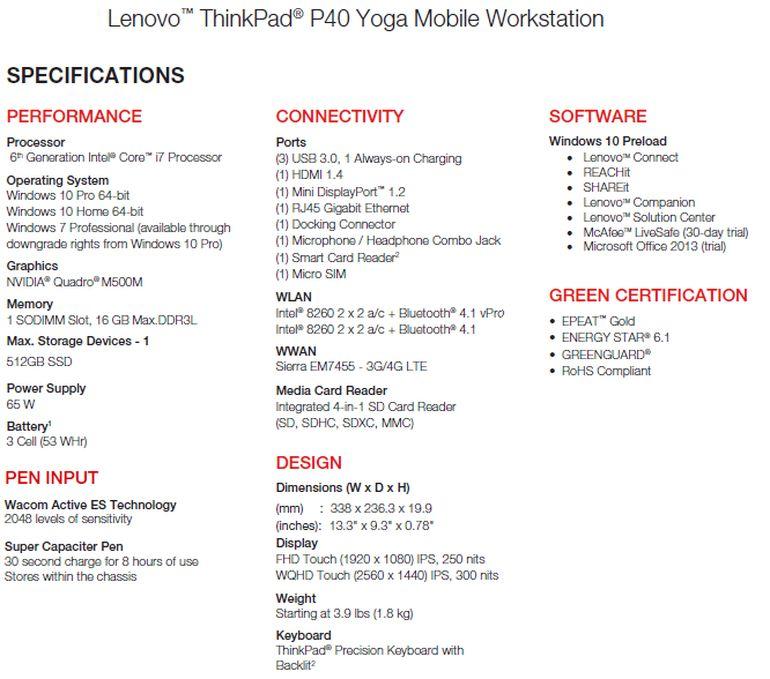 Lenovo ThinkPad P40 Yoga Specifications