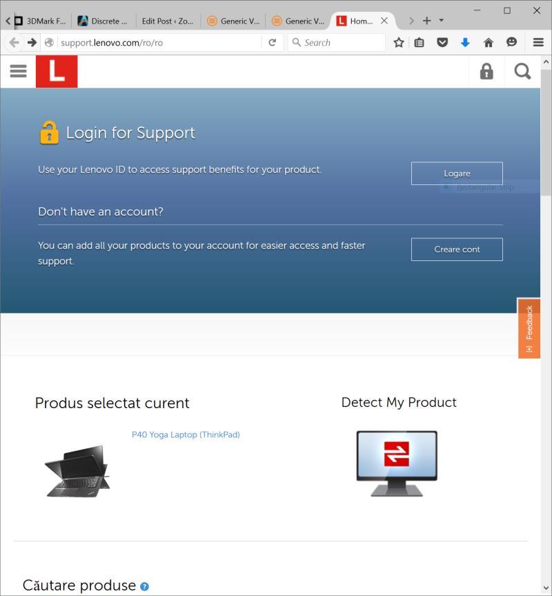 Pagina de suport Lenovo