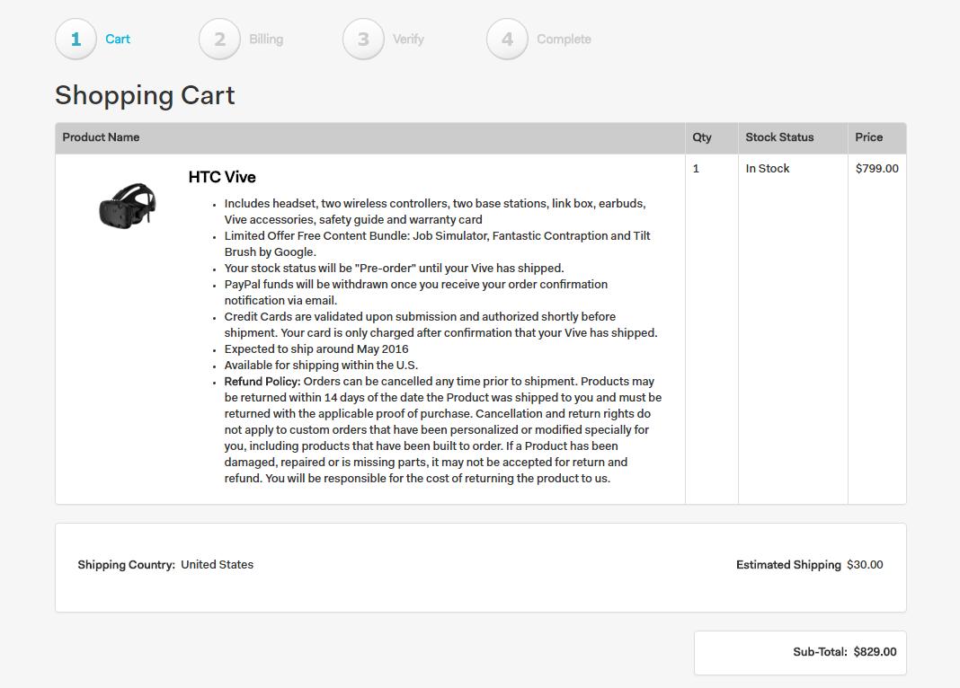 HTC VIVE US Price