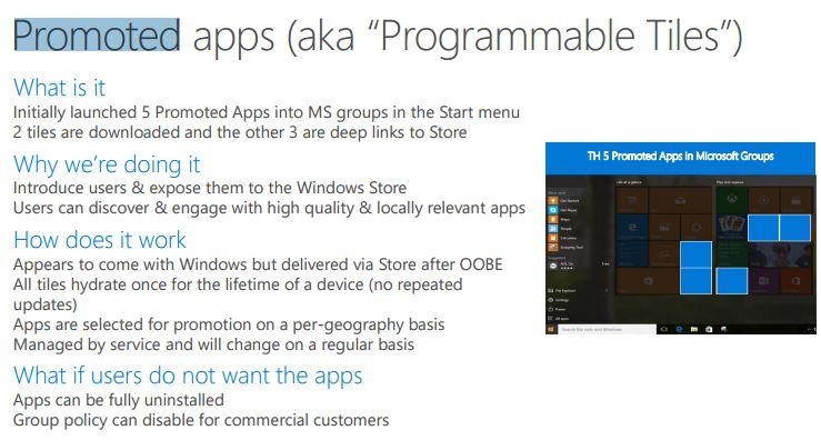 Aplicatiile promovate din Windows 10