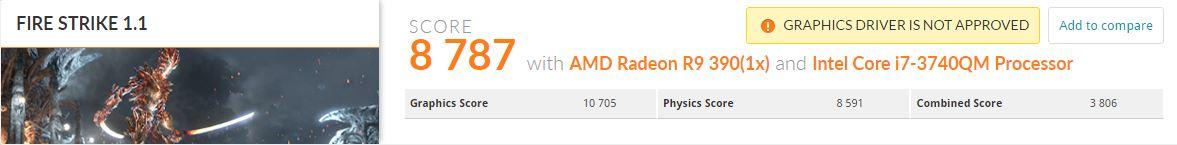 Fire Strike pe un Radeon R9 390