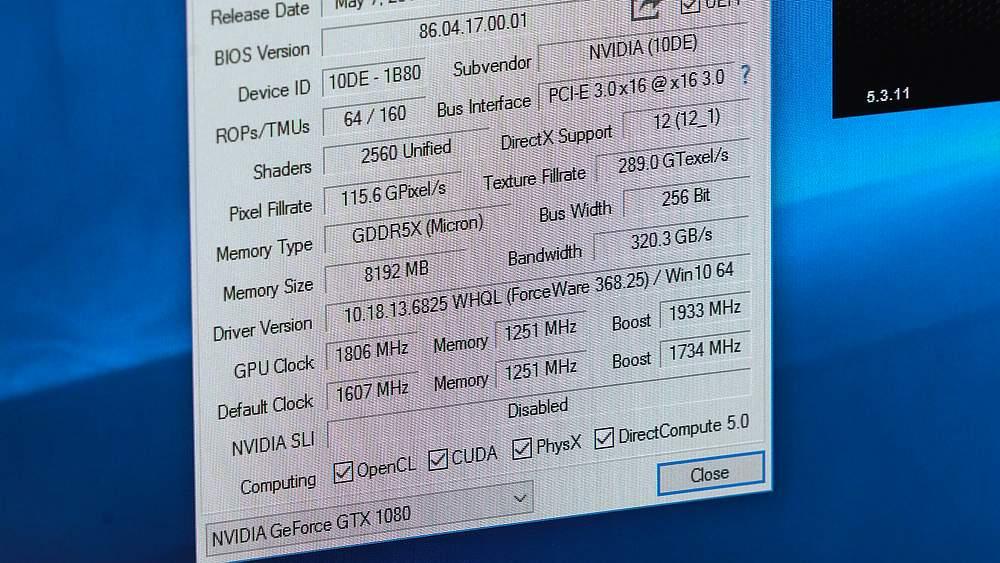 GTX 1080 in GPU-Z