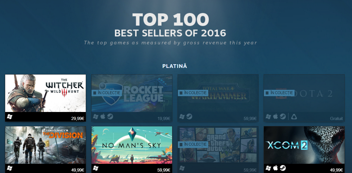 Photo of Top 100 cele mai bine vandute jocuri de pe Steam in 2016
