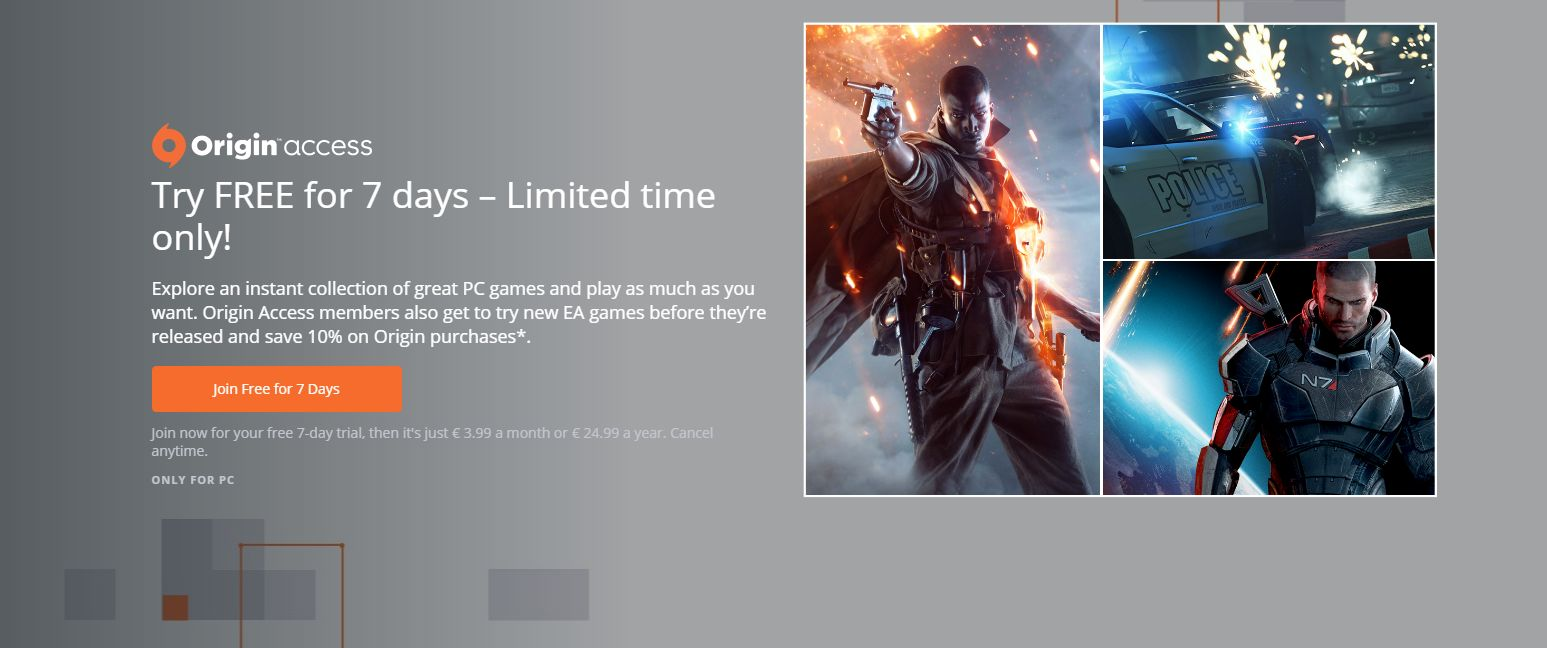 Photo of Origin Access are acum un trial gratuit de 7 zile… aproximativ