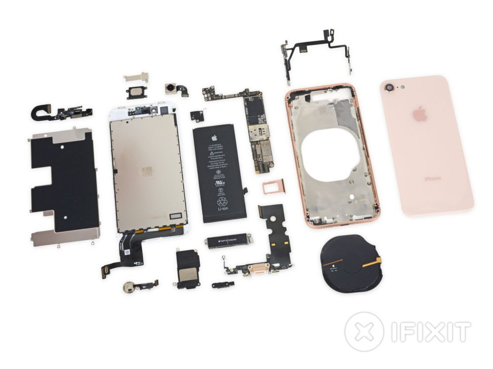 Photo of iPhone 8 desfăcut, dificultate medie de reparare