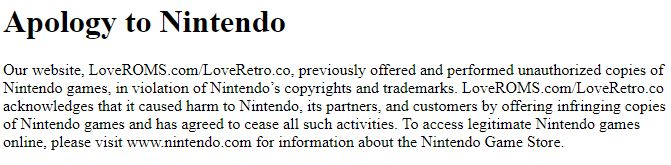 apology nintendo