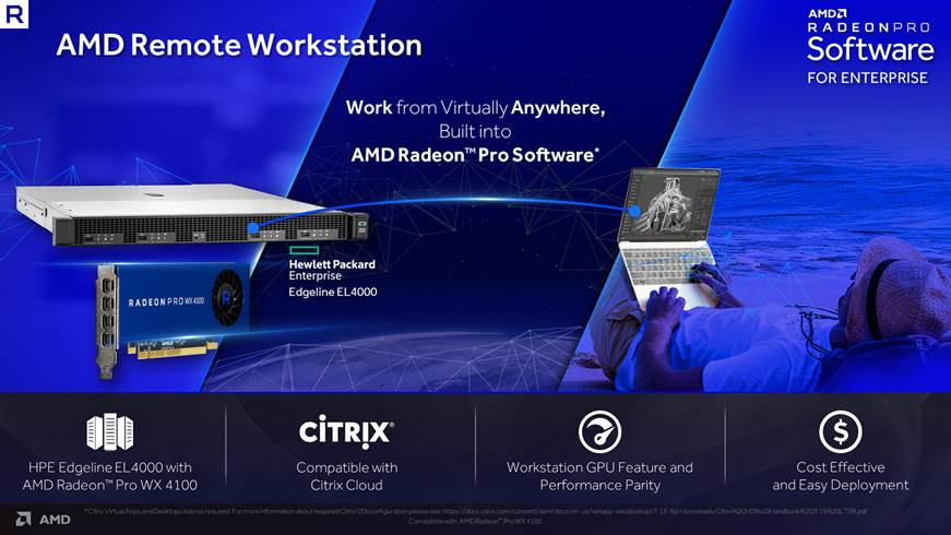 Photo of AMD Remote Workstation acum valabil pe workstation-ul HPE Edgeline EL4000 Engineering cu Radeon Pro WX 4100