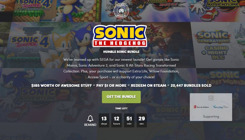 Sonic the hedgehog Humble Bundle