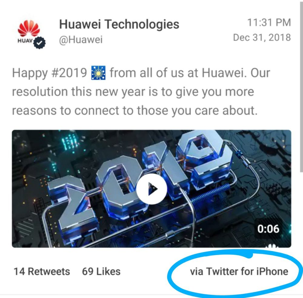 Huawei Twitter for iPhone