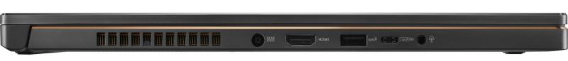 Laterala din stânga. De la stânga la dreapta: fanta de evacuare a aerului fierbinte, alimentarea, portul HDMI 2.0b, portul USB 3.1 Gen 2 Type A, portul USB 3.1 Gen 2 Type C cu DisplayPort 1.4, jack audio 3.5mm