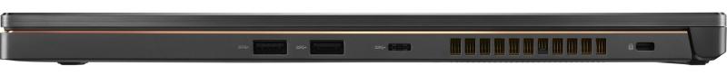 Laterala din dreapta. De la stânga la dreapta: două porturi USB 3.1 Gen 1 Type A, portul USB 3.1 Gen 1 Type C, fantele pt evacuarea aerului fierbinte, Kensington Lock.