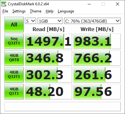 Un SSD rapid, nu cel mai rapid, evident, dar să recunoaștem, rezultatele sunt totuși foarte bune, mult peste media pieței. Are o singură hibă: are 512 GB.