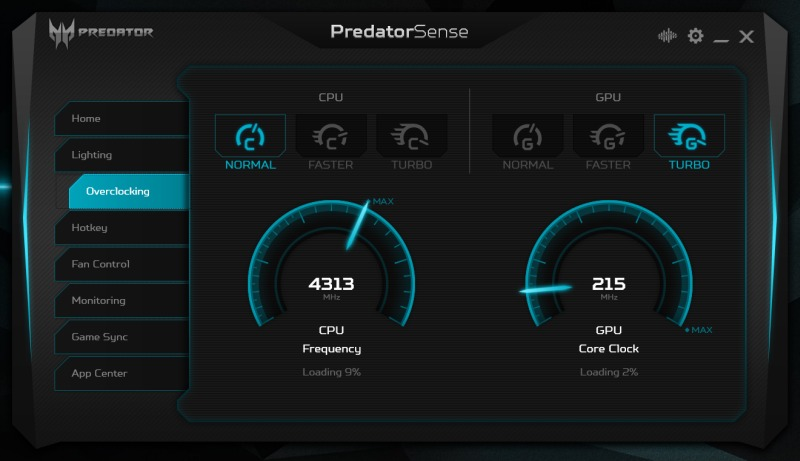 Overclocking - la un click distanta - oricine poate incerca presetarile si sa vada comportamentul laptop-ului. Recomandarea mea: deloc la CPU si maxim la GPU - si laptop-ul merge in continuare in parametri optimi.