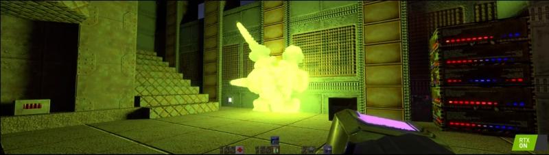 Big, uh, freakin' gun. Bine, în Doom Bible scria altfel, dar mă autocenzurez. Admirați iluminarea făcută de explozia sferei de energie.
