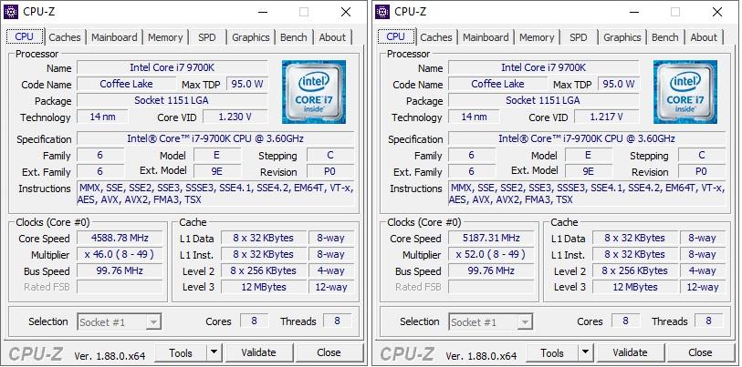 Procesorul desktop Intel Core i7-9700K, ascuns bine sub capota notebook-ului Alienware Area-51m. În stânga, procesorul în regim normal de funcționare. În dreapta, după ce ne-am jucat în Alienware Command Center Fusion (overclocking).