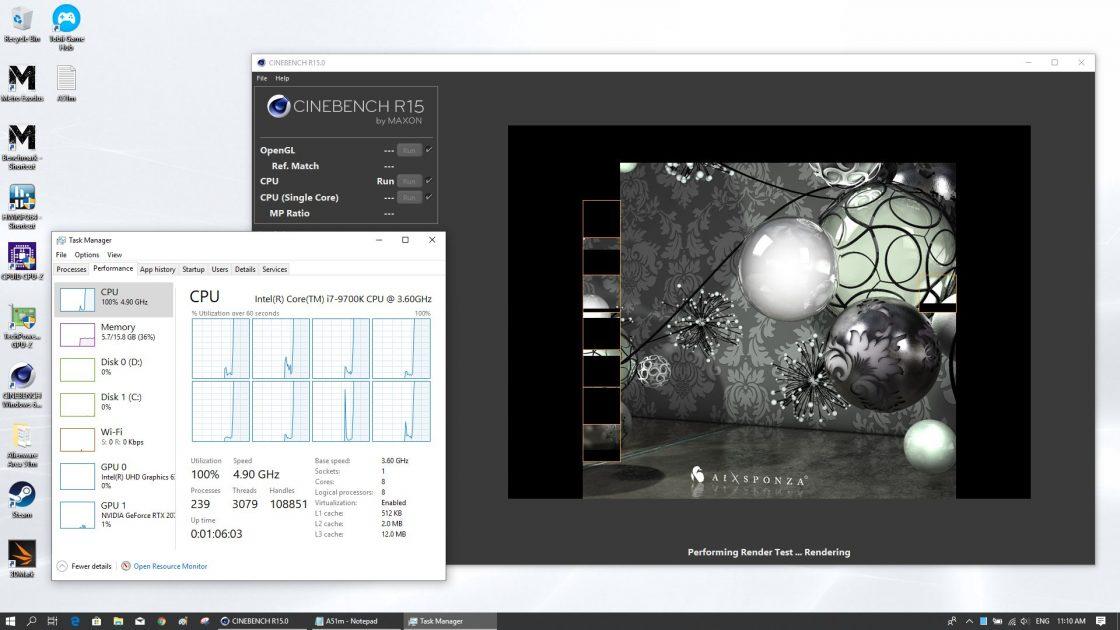 Este o senzație unică să vezi procesorul în 100% pe toate nucleele, la 4,9GHz.