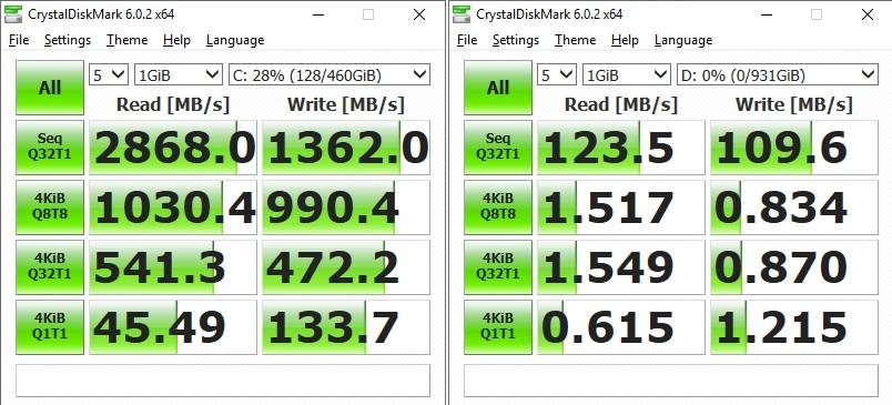 În stânga, rezultatele SSD-ului. În dreapta, rezultatele HDD-ului. Bun pentru ținut datele voastre. Chiar dacă nu e mare inginerie când vine vorba de viteze de transfer, dar memoria NAND ajută HDD-ul în momentele grele - încărcare jocuri, aplicații, etc.