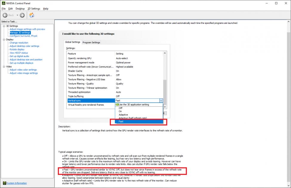 Pentru utilizatorii placilor video NVIDIA: Jucătorii de CS, Fortnite și altele cu engine-uri cu frame rate foarte mare, dacă aveți monitoare cu refresh rate fix, NVIDIA Fast Sync este o opțiune demnă de luat în considerare.