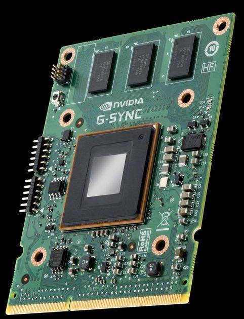 Modulul G-SYNC, ce se integrează în monitoarele premiante.