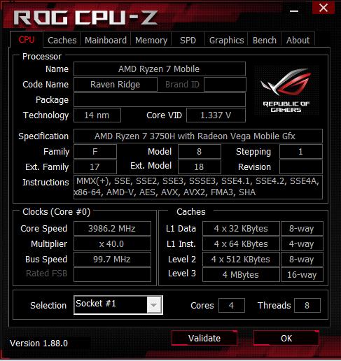 procesor AMD Zen+: AMD Ryzen 7 3750H