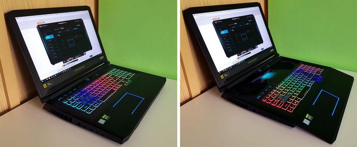 Acer Predator Helios 700: un adevărat Transformer Prime - în dreapta, cu tastatura culisată (tastatura HyperDrift)