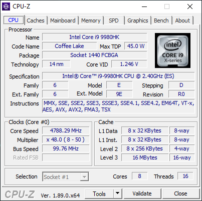 Intel Core i9-9980HK: un procesor foarte performant! Potrivit acestui laptop.