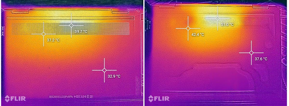 Încărcare normală (stânga) vs heavy load (Cinebench all cores, scenariu extrem) (dreapta). Nu se recomandă de ținut în poală. laptop-ul se poate încinge (menționez că în încărcare normală, temperaturile sunt apropiate de temperatura corpului, deci ok)