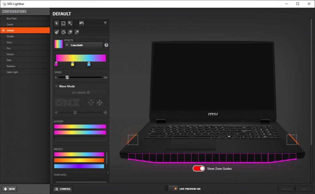 MSI LightBar: fiind bandă de LED-uri adresabile, fiecare bucățică poate fi personalizată, precum și cele două zone din lateralele laptop-ului.