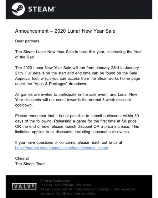 Steam Lunar Sale 2020