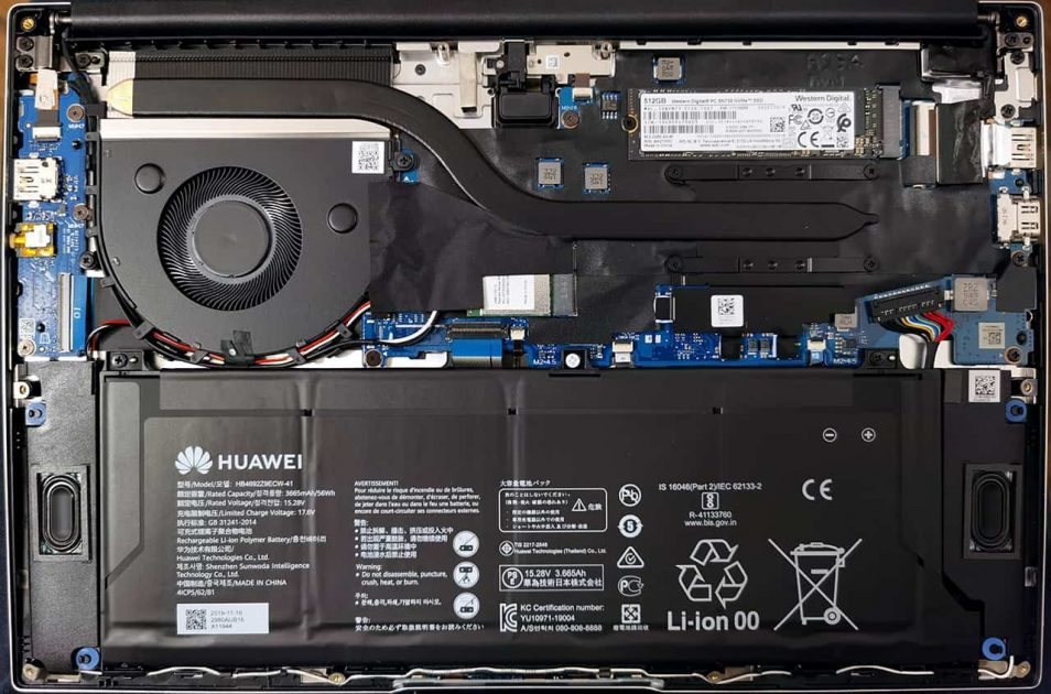 HUAWEI MateBook D 14 - sub capotă.