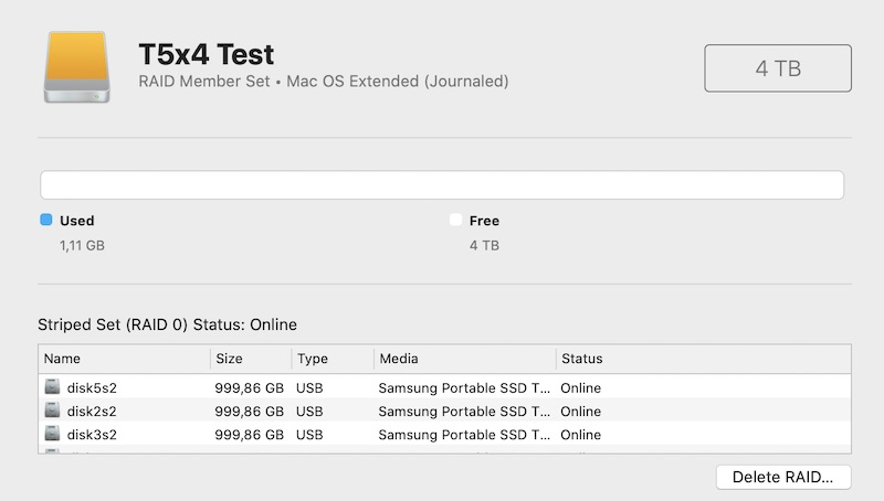RAID 0 4TB 4xSamsung T5 1TB