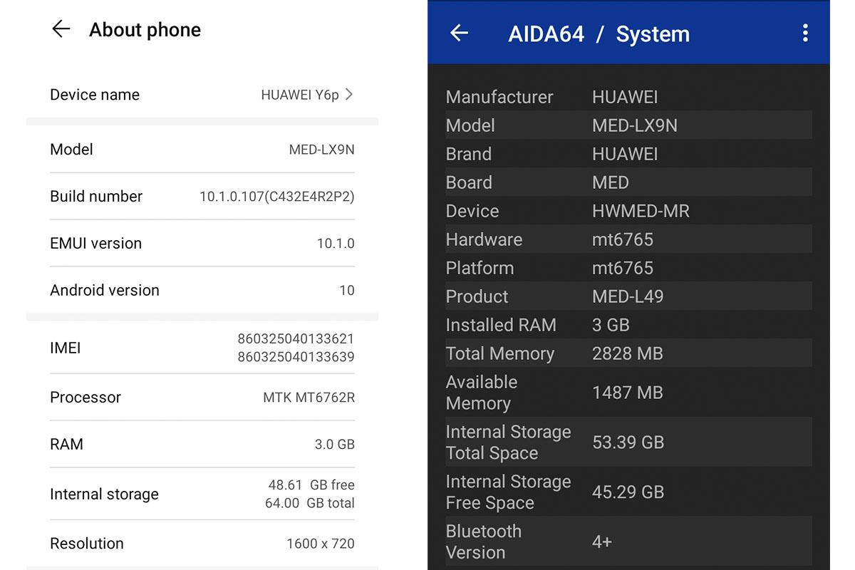 Huawei Y6p 3D Specs Aida 64