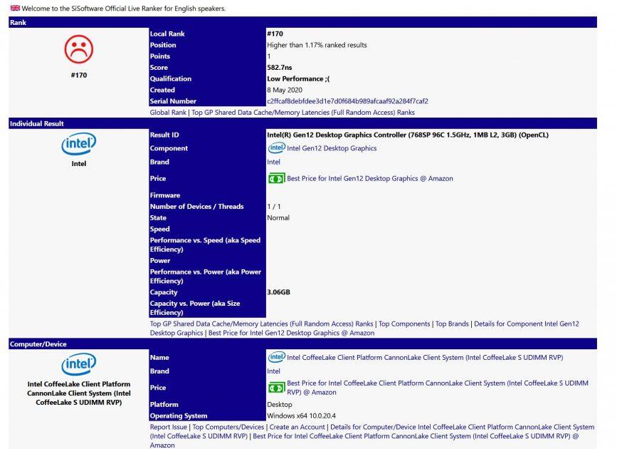 Intel DG1 Sisoft Sandra Benchmark Leak