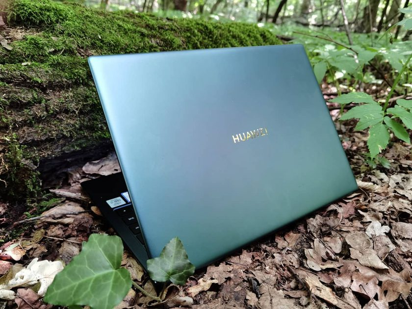 HUAWEI MateBook X Pro 2020 - Emeral Green - în mijlocul naturii - potrivire perfectă