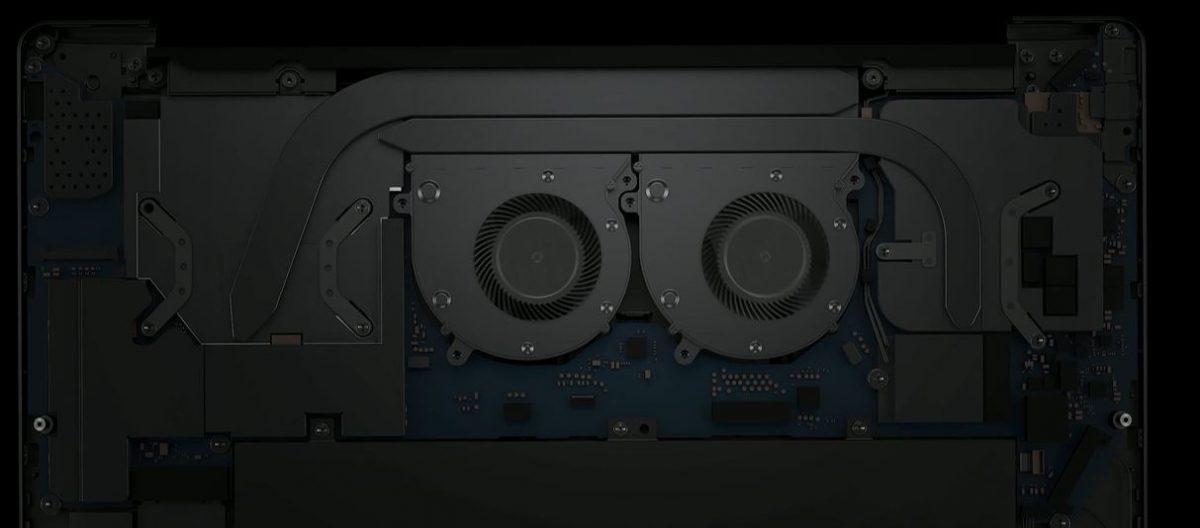 HUAWEI MateBook 13 2020 - sistem de răcire bine pus la punct - modelul cu video NVIDIA are două heatpipe-uri și două ventilatoare