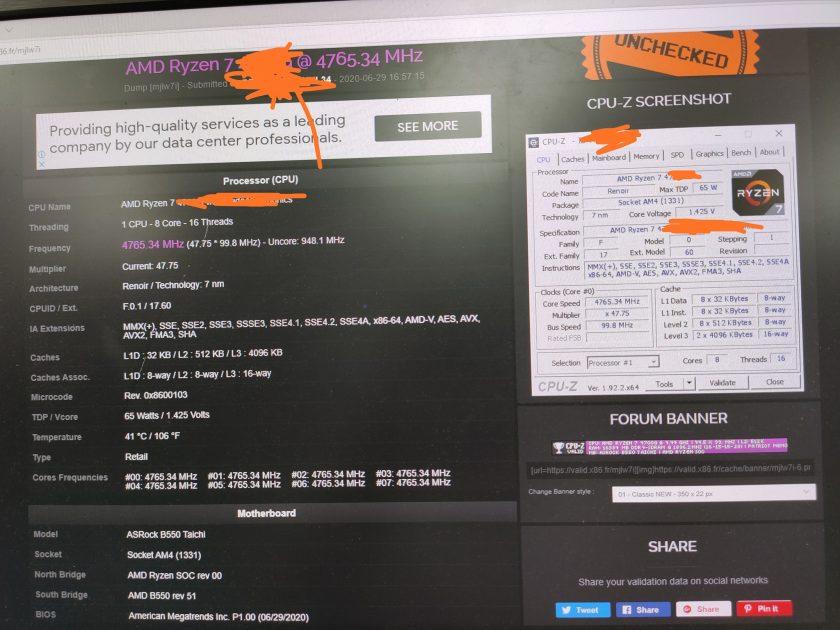AMD Ryzen 7 4700G OC 4,765MHz