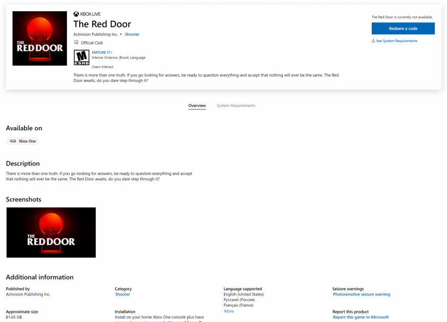 Call of Duty The Red Door Activision Microsoft Store