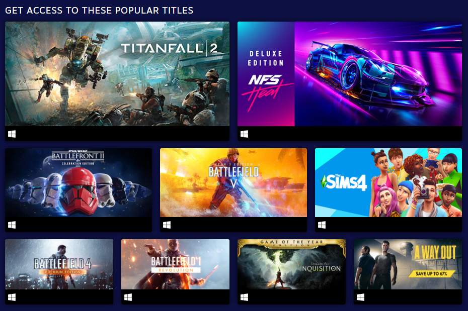 EA Play Steam Popular Titles