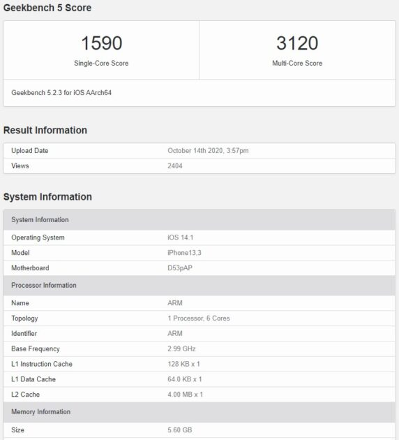 iPhone 12 Pro A14 Bionic Geekbench 5