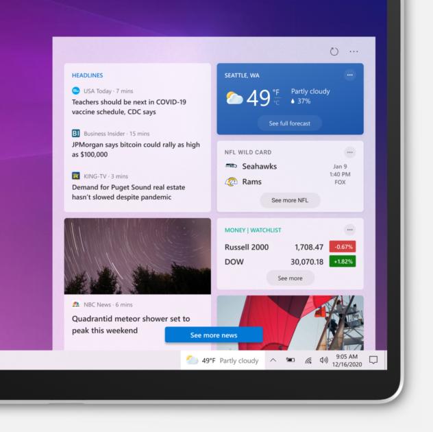 Windows 10 Build 21286 - Vremea si stiri