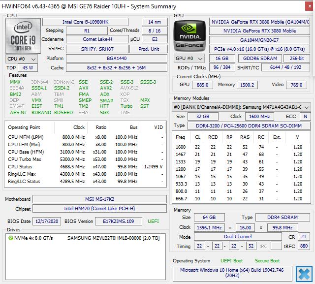 MSI GE76 Raider are un procesor posibil îmbătrânit moral, dar în tandem cu placa video RTX 3080 150W TGP rupe toate barierele în gaming