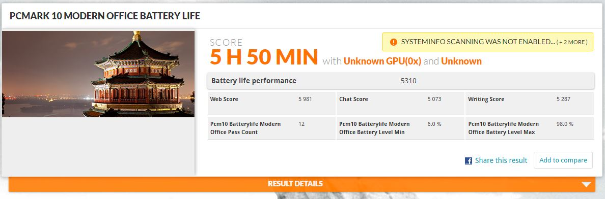 MSI GF65 Thin - testul de autonomie, ecran setat la 60Hz, 100 cd/m2, Super Battery Mode
