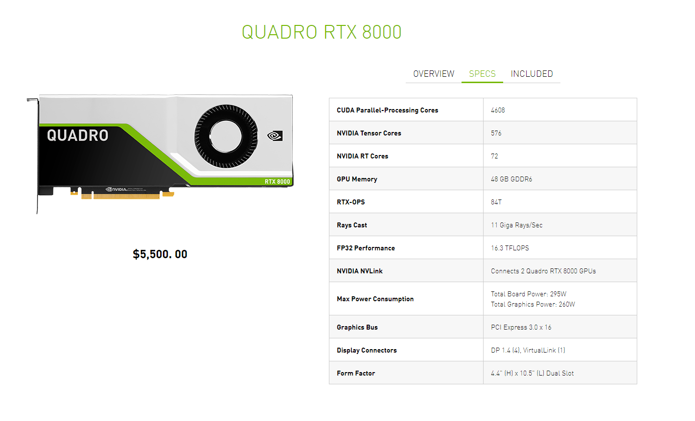 Nvidia Quatro RTX 8000